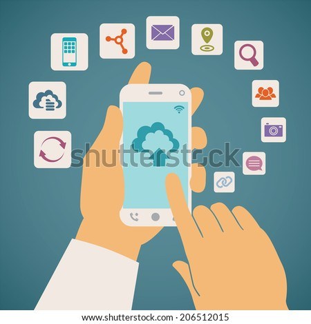 Vector concept of cloud services on mobile phone such as storage, computing, search, photo album, data exchange. With colorful icons or web buttons around mobile device. Rasterized version. - stock photo