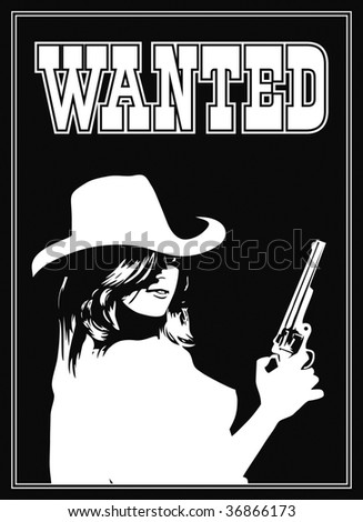 vector cowboy girl in a wanted page - stock photo
