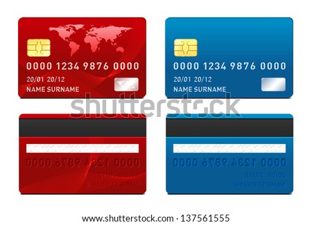 Vector Credit Card template - stock photo