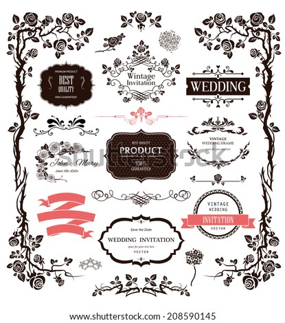 Vector design elements and calligraphic decorations for wedding. Raster version