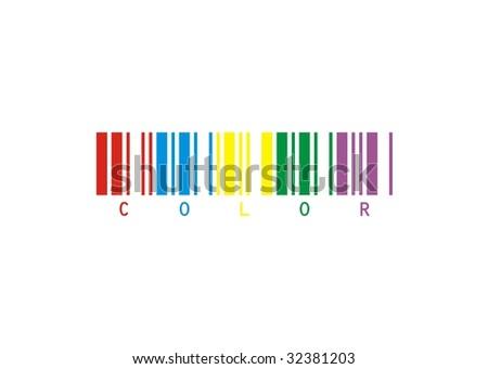 vector draw bar code  color - stock photo