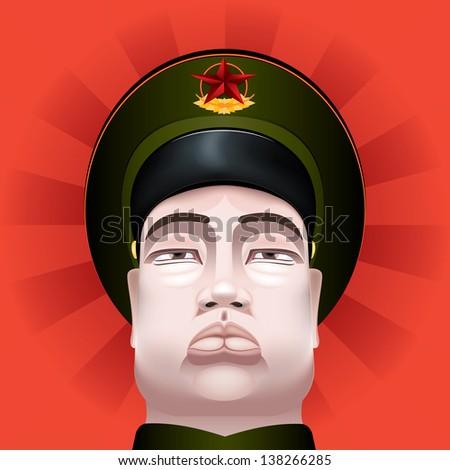 Vector Drawing of a communist soldier/Communist soldier/ Communist soldier chinese, easy to edit layers, meshes and gradients used - stock photo