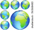 Vector earth globes isolated on white. - stock vector