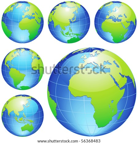 Vector earth globes isolated on white. - stock photo