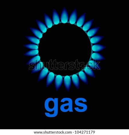 vector flames of gas - stock photo
