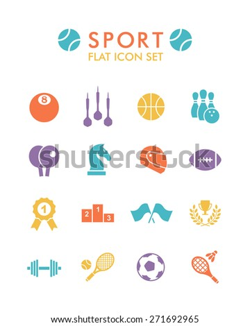 Vector Flat Icon Set - Sport  - stock photo