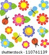 Vector flowers, butterflies and ladybugs. Raster version. - stock photo