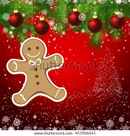 Vector gingerbread man New Year design background. Template card whit red Christmas balls on the green branches. Silhouette of a Christmas tree made of stars. Falling snow.   - stock photo