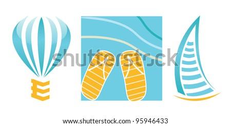 Vector glossy logos for travel company - stock photo