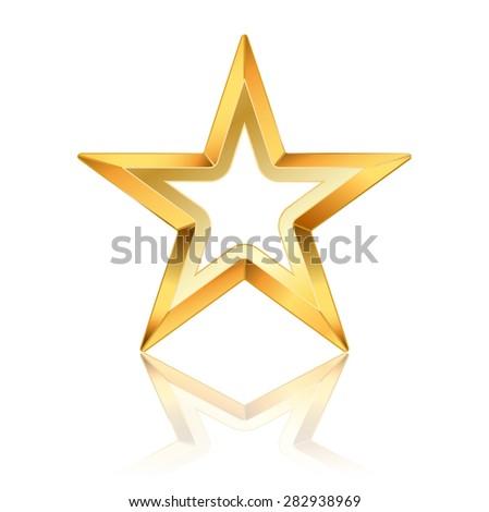 vector golden star frame on white - stock photo
