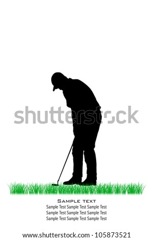 Vector Golfer Silhouettes, Isolated, Background - stock photo