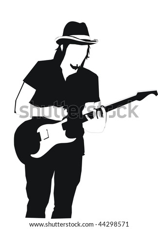 vector guitar man silhouette