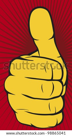Vector hand showing thumbs up - stock photo