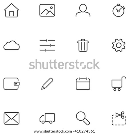 Vector icons for web interface or mobile applications.  - stock photo