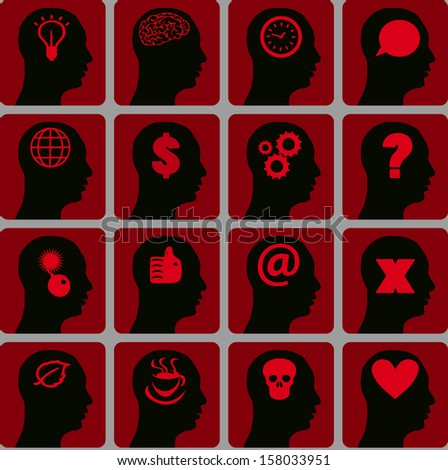 Vector Icons set head think silhoutte vector - stock photo