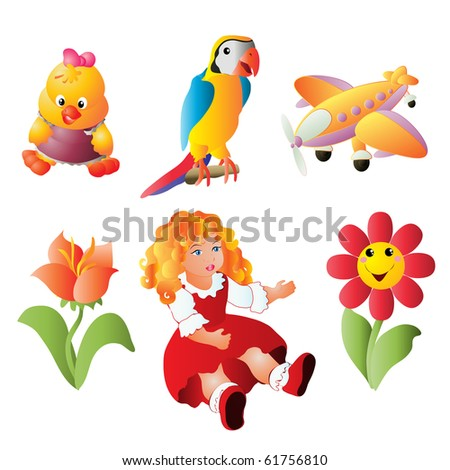 vector illustration, children's dolls and toys, cartoon concept, white background.