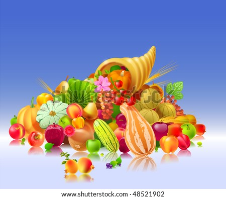 Vector illustration depicting a heap of fruits and vegetables coming out of the cornucopia - stock photo