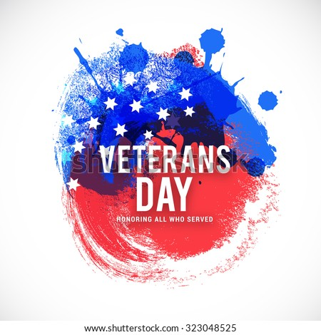Vector illustration happy veterans day flag design over a white background. - stock photo