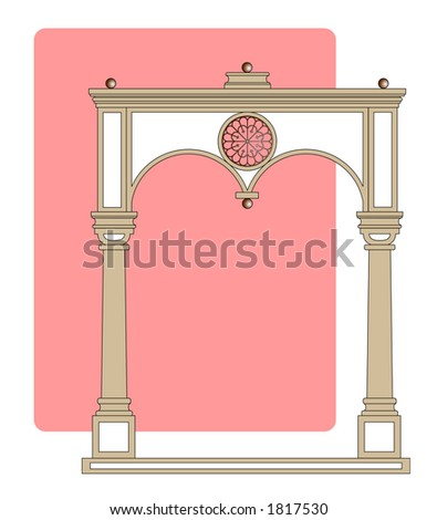 Vector illustration of a classic archway against an offset soft pink background for use as a border or frame.
