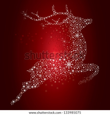 Vector illustration of a flying red reindeer - stock photo