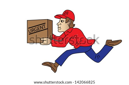 Vector illustration of a man carrying box in his hands with word urgent written on it - stock photo