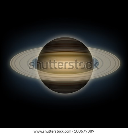 Vector illustration of a planet Saturn in the cosmos.