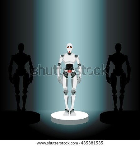 vector illustration of a robot on a pedestal in the spotlight - stock photo