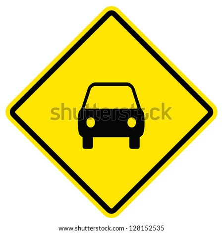 Vector illustration of a yellow road sign for a bus stop. - stock photo