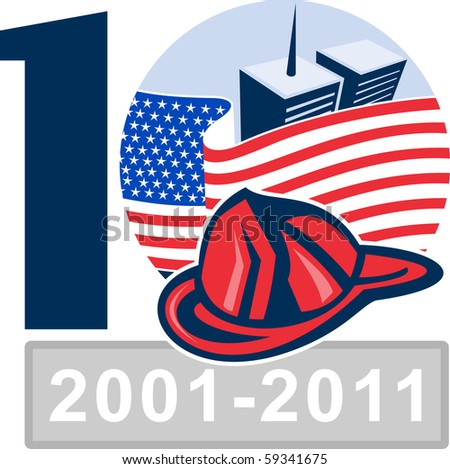 vector illustration of an unfurled american flag  with world trade center twin tower building in the  background and firefighter helmet 10 year anniversary - stock photo
