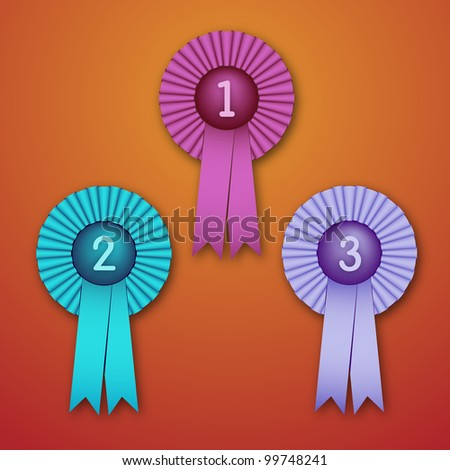 Vector Illustration of Award Ribbons (bitmap version) - stock photo