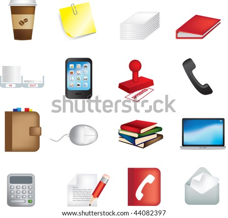 vector illustration of business office items icons