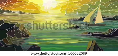 Vector illustration of cartoon sailing yacht in sunset. - stock photo