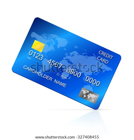 Vector illustration of detailed blue credit card, isolated on white