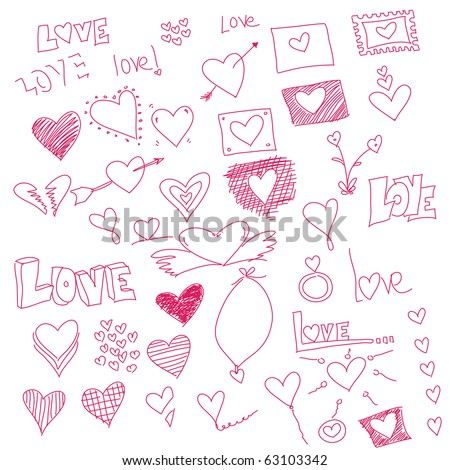Vector - Illustration of doodles with heart symbols for valentine love message - stock photo