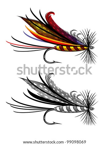 Vector illustration of fishing fly - stock photo