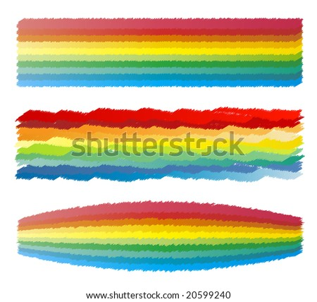 Vector illustration of highly detailed effects of scribbled crayon rainbow colored stripes.