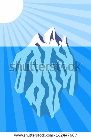 Vector illustration of iceberg floating in water. Raster version of EPS id:30941086