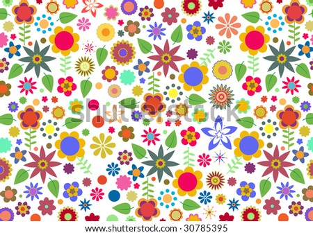 Vector illustration of multicolored funky flowers and leaves abstract pattern on white background - stock photo