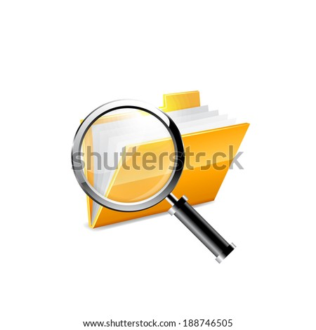 Vector illustration of search concept with yellow folder icon. Raster copy.