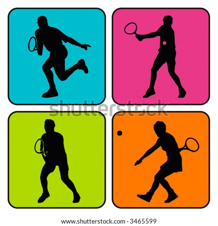Vector illustration of 4 tennis player silhouettes in colorful background
