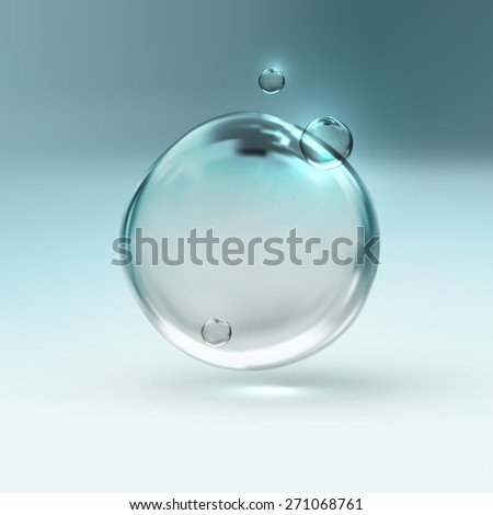 vector illustration of transparent fresh shiny water bubbles - stock photo