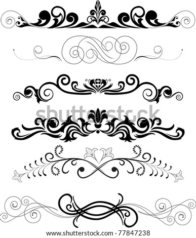 Vector illustration: set of swirling  decorative floral elements - stock photo