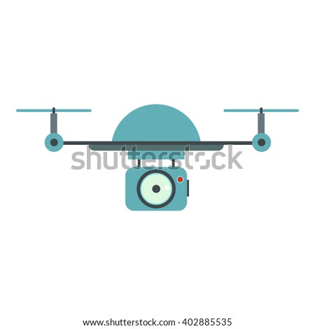Vector Illustration with drone (quadrocopter) isolated on white background in cartoon flat style.