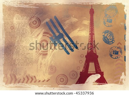 vector illustration with eiffel tower and plane on burnt paper