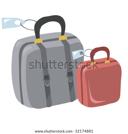 Vector illustration with suitcases for travel - stock photo