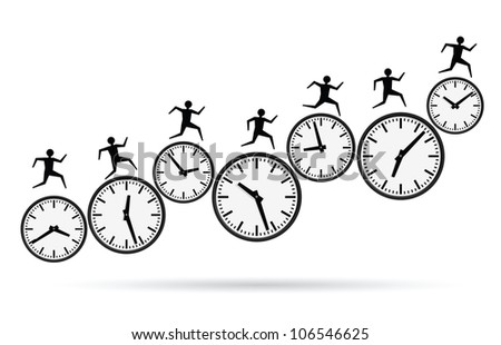 vector illustrations of busy concepts, running out of time. - stock photo
