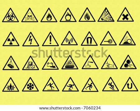 Vector Illustrations Of Warning Signs In The Industry - stock photo