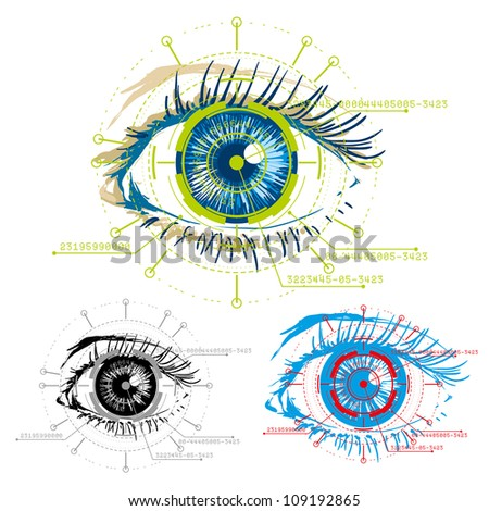 vector image of eyes security - stock photo