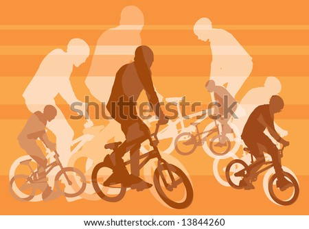 vector image of few cyclists with bmx - stock photo