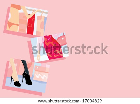 vector image of pink background with frames of shopping topics. there is free space for your info